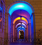 Colorful arches of the Lviv City Hall
