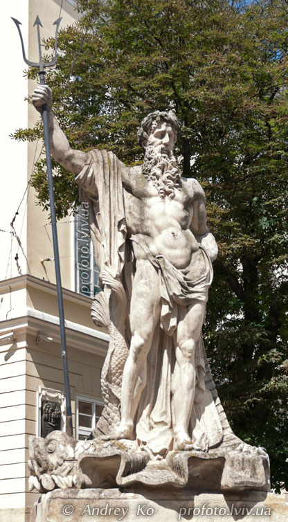 Statue of Neptune in the Market Square in Lviv
