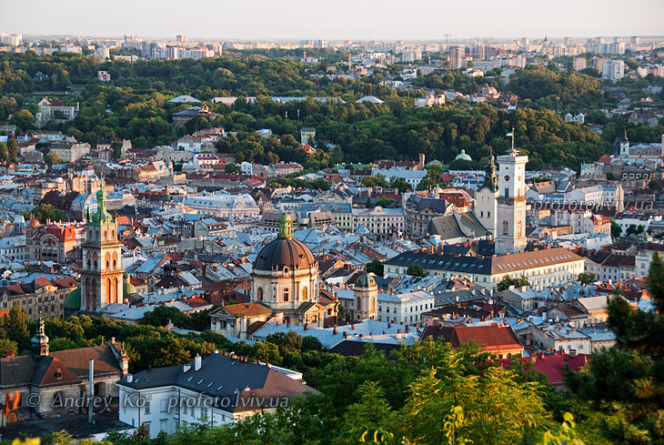 Panoramic view of the city of Lviv from the High Castle